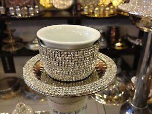 Handmade Arabic Turkish Coffee Espresso Mırra Cup&Saucer Swarovski CrystalCoated