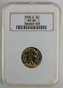 1938 D Buffalo Indian Head Nickel 5c US Coin Certified NGC MS66 Bad Label