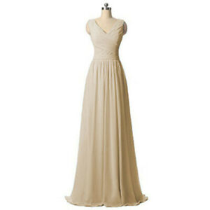 Chiffon V-Neck Sleeveless Bridesmaid Dresses Wedding Party Evening Formal Gown
