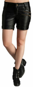 Girls Leather Shorts Black Soft Lambskin Cocktail Club Party Wear Hot Pants WS13