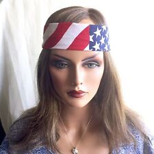 Flag Headband Festival Sweatband Unisex Free Ship Stars Stripes Red White Blue