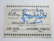 BRIAN JONES SIGNED ROLLING STONES FAN CLUB CARD + ROGER EPPERSON COA! RARE!