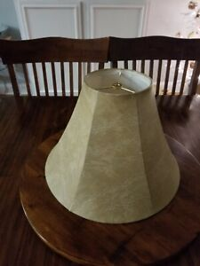 """Gold Brown Bell Faux Leather Lamp Shade 6"""" Top, 15"""" Bottom, Cloth Interior"""