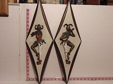 """2 Mid Century Burwood Harlequin Jester Clown Wall Plaques 22"""" x 7"""" Product 4144"""