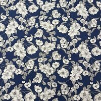 Royal Blue Floral Fabric Rose & Hubble 100% cotton fabric Metre or 1/2 Metre