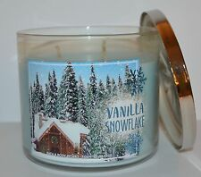 BATH & BODY WORKS VANILLA SNOWFLAKE CANDLE 3 WICK 14.5 OZ LARGE MINT FIR COCONUT