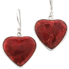 """7/8"""" HEART VALENTINE RED CORAL 925 STERLING SILVER earrings"""