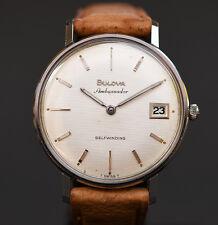 RARE! 1965 BULOVA 'Ambassador' MICRO-ROTOR AUTOMATIC DATE SWISS WATCH MEN