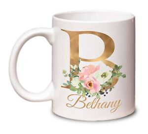 Personalised Mug Floral Gold Initial Name Gift for Mum Birthday Sister Friend