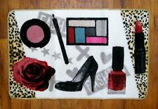 Diva FASHIONISTA Make Up Lipstick Nail Polish Heels Hand Carved Bathroom Rug Mat