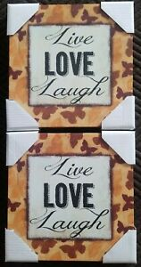 """Love , Live  Inspirational  Home  decor  wall art  canvas  14""""x 14""""In  lot of 2"""