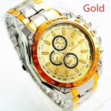 WATCH MENS LADIES ORLANDO GOLDEN DIAL GOLDTONE HOUR MARKERS 3 SUB-DIALS