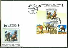 Guinea 2014 Prehistoric Man And Animals Souvenir Sheet First Day Cover