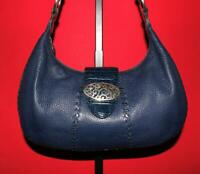 BRIGHTON Blue Pebbled Croco-embossed Leather Hobo Shoulder Tote Purse Bag
