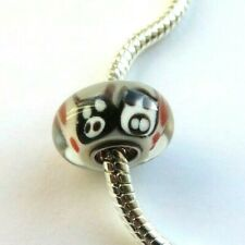 2 x MURANO Glass Beads Black/White Owls Pink Dots to fit European Charm Bracelet