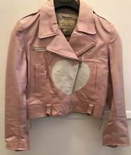 Vintage Redskins Metallic Pink Leather Moto Jacket New & Unworn M Fully Lined