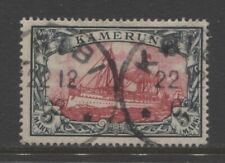 1900 German colonies Cameroun 5 Mark used  KRIBI  $ 720.00