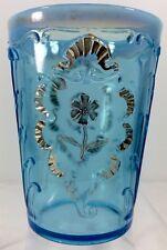 Carnelian Everglades Tumbler Blue Opalescent Pattern Glass Northwood 1902 Gold