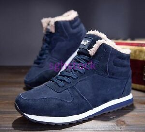 New Men Lace up Warm Winter Snow Boots Cotton Casual Shoes Canvas high-top Boots