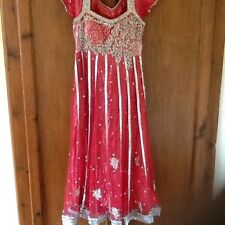 Women's Indian Asian Bridal Red Silver Dress Pajami Size 8 Worth £100