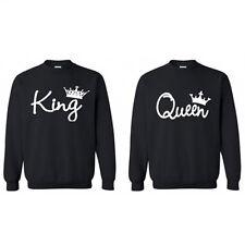 Couple T-shirt Tee King and Queen Sweatshirt Hoodies Pullover Jumper Sweater Top