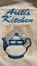 TEA TOWEL personalised embroidered TEA POT teapot add a name for FREE cuppa time