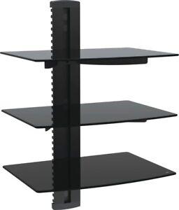 VonHaus 3-Tier Floating Black Shelves with Flat Black Wall Mount Bracket & Glass