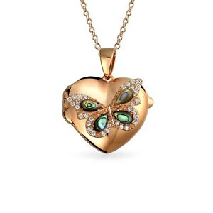 Abalone CZ Butterfly Heart Pendant Necklace Locket Rose Gold Plated