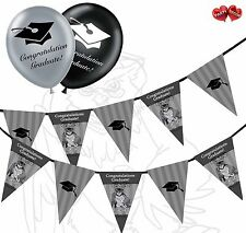 Bundle of Owl & hats Bunting Banner 15 flags and 20 Graduation latex balloons