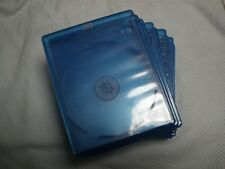 Set of 10, Empty, Blue, Blu-ray DVD Replacement Cases w/ Wrap-Around Sleeves