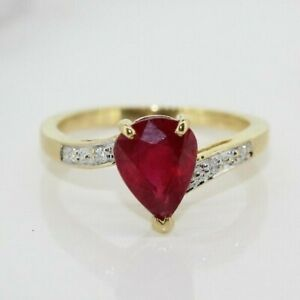 18ct Yellow Gold Pear Ruby and Diamond Cluster Ring (Size L, US 5 3/4)