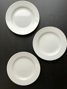 """3 Crate and Barrel White Plate 7"""" Salad Bread Desert"""