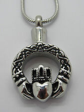"CREMATION JEWELLERY PENDANT NECKLACE""CLADDAGH -IRISH- LOVE,LOYALTY & FRIENDSHIP"""