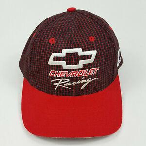 VTG Chevrolet Racing Red Plaid Dale Earnhardt Strapback NASCAR Chevy Hat Retro