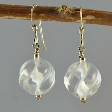 Sterling Silver Natural Clear Quartz 12mm Carved Round Earrings