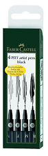 4x Black Faber Castell Pitt Artist Technical Drawing Pens Assorted Sizes S F M B