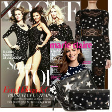 New ATMOSPHERE chiffon celebrity style pussy bow mini star print dress US 6 8