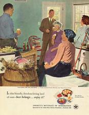 1951 vintage ad, BEER 'Enjoy it!', US Brewers Assoc., Art D. Crockwell-041213