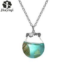 Glass Wish Bottle Necklace with Sea Shell Ocean Pendant Necklace Jewelry