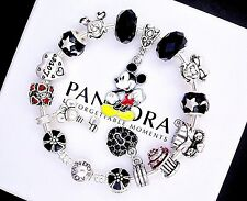 Authentic Pandora Silver Bangle Bracelet with European Charms Mickey Mouse Love