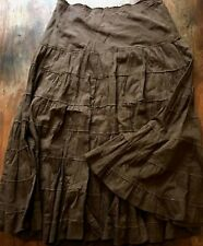 Eyeshadow Women sz 5 Tiered ruffle Skirt Cotton Peasant Boho Brown flared