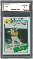 RICKEY HENDERSON 1980 Topps Baseball #482 RC Rookie ~ BSG 8
