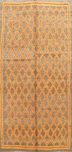 Vintage Trellis Authentic Moroccan Berber Vegetable Dye Handmade Area Rug 6x11