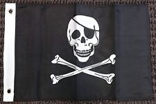 Pirate Jolly Roger Nylon Embroidered 12x18 Inch Boat Flag Skull Banner New
