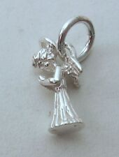 SOLID 925 STERLING SILVER 3D CHRISTMAS ANGEL Charm/Pendant