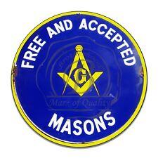 Free Masons Free And Accepted Masonic Emblem Reproduction Circle Aluminum Sign