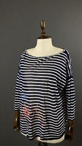 Ladies White/Blue Striped Luxury IVKO Jumper Size 42