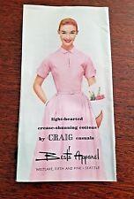 VINTAGE 1950'S Carol Craig Casuals Dresses Best Apparel Seattle Brochure