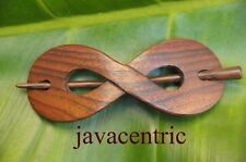Handmade INFINITY wooden HAIR PIN BARRETTE SLIDE CLASP SLIDE Sono wood natural