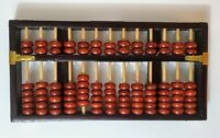 Vintage Chinese Wooden 9 Digits Arithmetic Abacus Classic Ancient Calculator